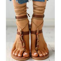 Mulheres PU Sem salto Sandálias Peep toe com Aplicação de renda sapatos
