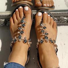 Pentru Femei PU Fară Toc Sandale Balerini Puţin decupat în faţă Şlapi între degete Şlapi cu Ştrasuri pantofi