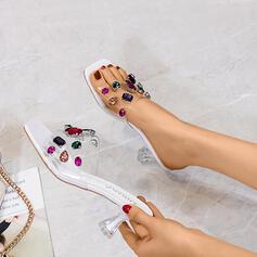 Women's Plastics Stiletto Heel Sandals Pumps With Rhinestone shoes