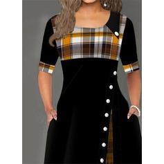 W kratę Rękawy 1/2 W kształcie litery A Łyżwiaż Casual Maxi Sukienki