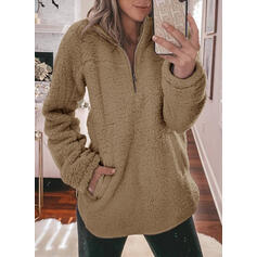 Solid Pockets Lapel Long Sleeves Sweatshirt