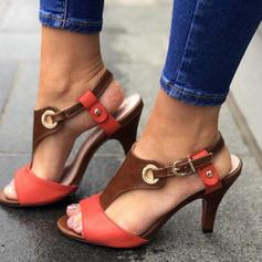 Bayanlar PU Topuklu ayakkabı Sandalet Pompalar Peep Toe Ile Toka ayakkabı