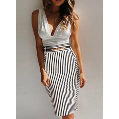 Striped Sleeveless Bodycon Knee Length Sexy/Casual/Party Dresses