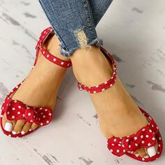 Women's Cloth Flat Heel Sandals Flats Peep Toe With Bowknot shoes
