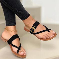 Kvinner PU Flat Hæl Sandaler Flate sko Flip-Flopper Tøfler med Hul ut Sikk sakk sko