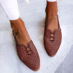 Frauen PU Flascher Absatz Flache Schuhe mit Zuschnüren Geflochtenes Band Einfarbig Schuhe