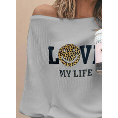 Print Leopard Figure One-Shoulder Long Sleeves Casual Knit Blouses