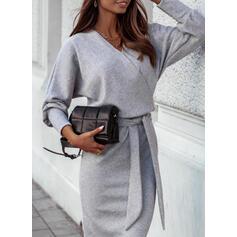 Solid Long Sleeves Sheath Elegant Midi Dresses