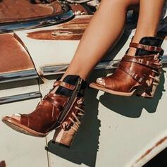 Сандалии ботинки Peep Toe Ботильоны Высокая вершина с пряжка Молния обувь