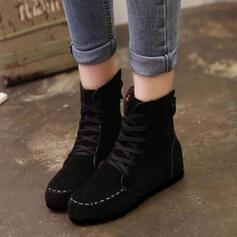 Mulheres Tecido Sem salto Sem salto Botas com Aplicação de renda sapatos
