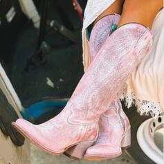 Női PU Chunky sarok Térdig érő csizmák Hegyes orr -Val Cipzár cipő