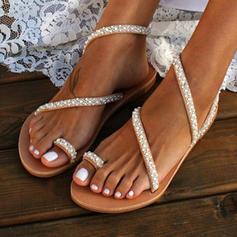 Mulheres PU Sem salto Sandálias Sem salto Peep toe com Pérola Imitação sapatos