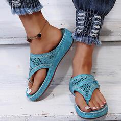 Плоский каблук Сандалии Шлепки Домашние тапочки с пряжка Выдолбить обувь