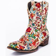 Pentru Femei PU Toc gros Cizme de Călărit Deget rotund cu Floare pantofi