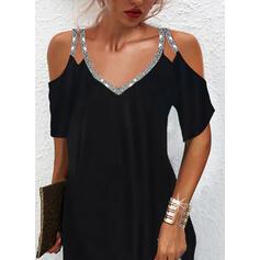 Solid Dantel/Payetler Mâneci la Jumătate Soğuk omuz kılıfı Shift Elbiseleri Deasupra Genunchiului Negre/Zarif Elbiseler