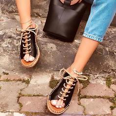 Bayanlar PU Düz topuk Flats Ile Bağcıklı ayakkabı ayakkabı