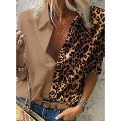 Leopard Lapel Long Sleeves Button Up Casual Shirt Blouses