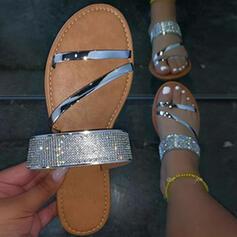 Kvinner Lær Flat Hæl Sandaler Flate sko Titte Tå Tøfler med Rhinestone Ensfarget sko