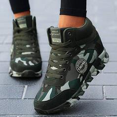 Mulheres Couro verdadeiro Lona Plataforma Botas com Aplicação de renda Cor da emenda sapatos