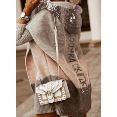 Color Block Sequins Hooded Casual Cardigan