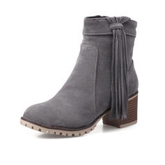 Mulheres PU Salto robusto Bota no tornozelo Toe rodada com Franja sapatos