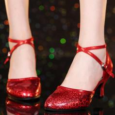 Mulheres Salão de Baile Swing Saltos Couro Moderno