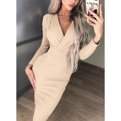 Jednolita Długie rękawy Bodycon Długośc do kolan Przyjęcie/Elegancki Ołówkowa Sukienki