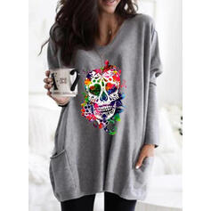 Print Halloween Pockets Round Neck Long Sleeves Sweatshirt