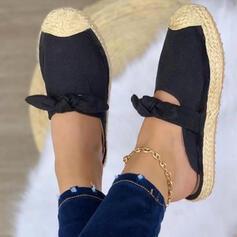 Mulheres Couro Sem salto Sandálias Chinelos com Bowknot Oca-out Cor sólida sapatos