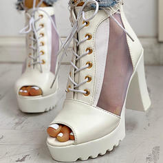 Dla kobiet PU Obcas Slupek Otwarty Nosek Buta Z Sznurowanie obuwie