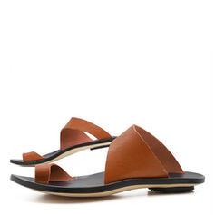 Kvinnor PU Flat Heel Sandaler Peep Toe Tofflor skor