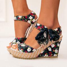 Pentru Femei Material Platforme Înalte Sandale Platforme Puţin decupat în faţă Tocuri cu Nod Lace-up pantofi