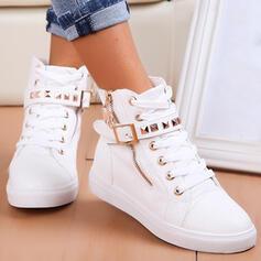 De mujer PU Tacón plano Botas Botas al tobillo Top bajo Encaje con Rivet Cremallera Cordones Color sólido zapatos