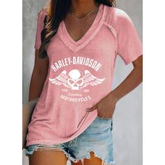 Figure Print V-Neck Short Sleeves T-shirts
