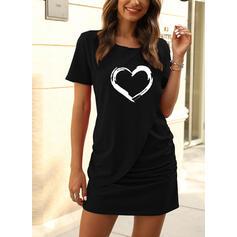 Nadrukowana/Serce Krótkie rękawy Pokrowiec Nad kolana Casual T-shirt Sukienki