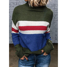 Blok Kolorów Prążek Okrągły dekolt Casual Swetry