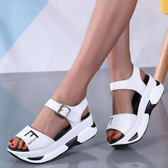 Dla kobiet Skóra ekologiczna Płaski Obcas Sandały Platforma Koturny Otwarty Nosek Buta Obcasy Z Klamra Tkanina Wypalana obuwie
