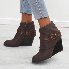 De mujer Cuero Tipo de tacón Cuñas Botas al tobillo Dedo del pie puntiagudo con Hebilla Color sólido zapatos