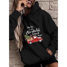 Print Figure Pockets Long Sleeves Christmas Sweatshirt