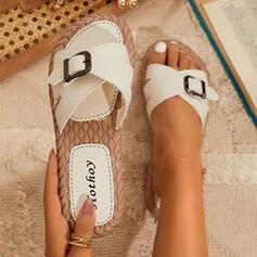PU Плоский каблук Сандалии Peep Toe Домашние тапочки с пряжка Сплошной цвет обувь