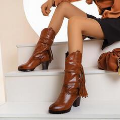 Mulheres PU Salto robusto Botas com Franja sapatos