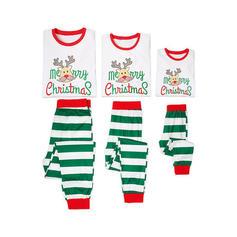 Deer W Paski Kreskówka Rodzinne Dopasowanie Świąteczne piżamy Piżama