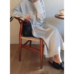 Jednobarevné Hrubá pletenina Rolák Neformální Dlouhé Volné Svetrové šaty