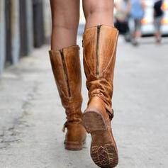 Women's PU Flat Heel Flats Closed Toe Boots Knee High Boots With Zipper shoes