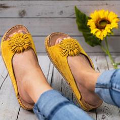 Dámské PU Klínový podpatek Sandály S otevřenou špičkou Pantofle S Květiny obuv