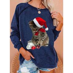 Animal Print Round Neck Long Sleeves Christmas Sweatshirt
