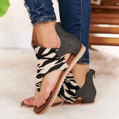 Pentru Femei Imitaţie de Piele Ţesătură Fară Toc Sandale cu Imprimeu Animal Fermoar pantofi