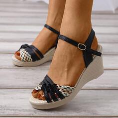 Женский PU Танкетка Сандалии Платформа клинья с пряжка Выдолбить обувь