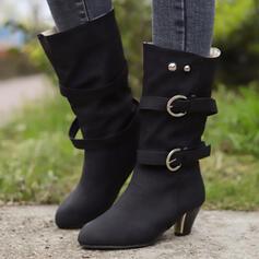 Женский дерматин Низкий каблук ботинки с пряжка обувь