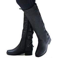 Mulheres Couro Salto baixo Botas com Zíper sapatos